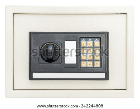 Closed electronic safe  isolated on a white background with clipping path