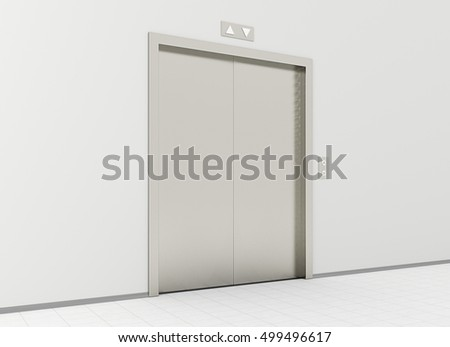 Closed elevator in office lobby. 3d render