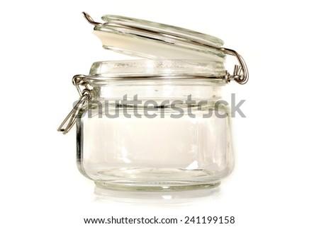 closed empty glass jar - stock photo
