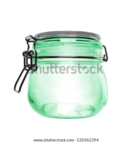 Closed empty glass jar,  isolated on white