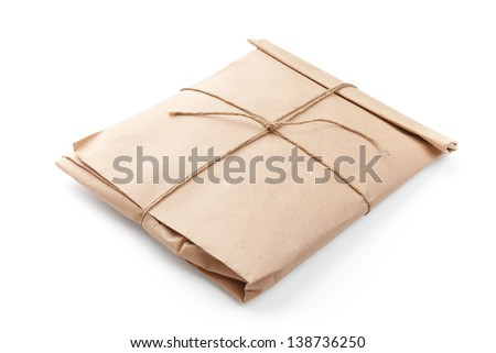 Closed envelope tied with a rope isolated on white - stock photo