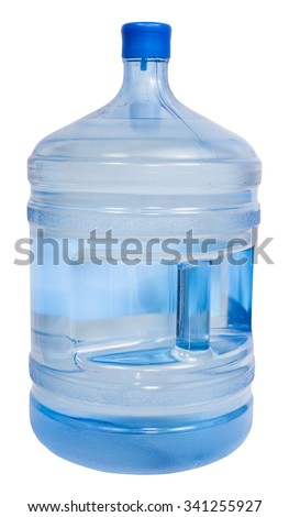 closed full 5 gallon plastic bottle with drinking water isolated on white background