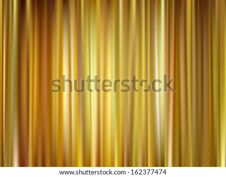 Closed Gold Theater Curtain, Silk Background, Raster Version of Vector - stock photo
