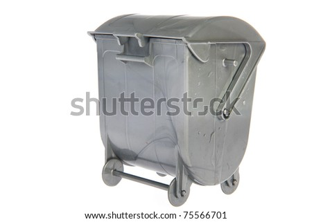 Closed gray industrial garbage container on white background