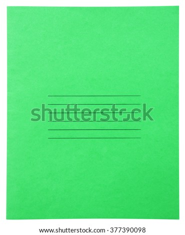 Closed green notebook isolated on white background with clipping path - stock photo