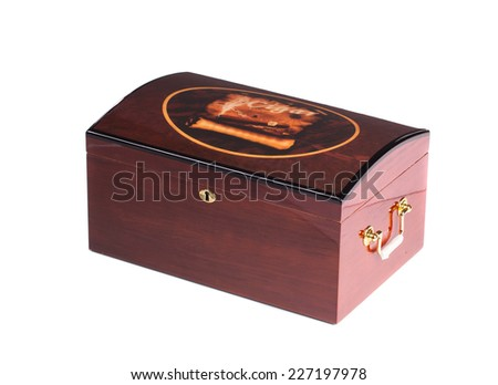 Closed humidor. Isolated on a white background. - stock photo