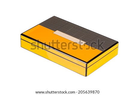 Closed humidor isolated on the white background - stock photo