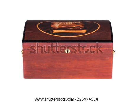 Closed humidor. Isolated on white background closeup. - stock photo