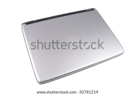 closed Laptop computer isolated on white - stock photo