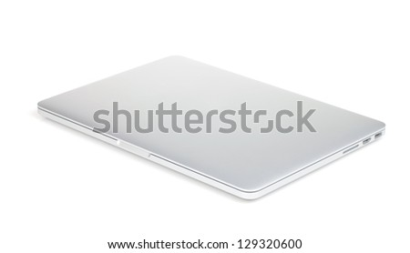 Closed laptop. Isolated on white background