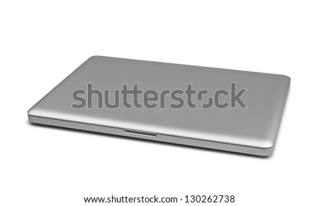 Closed laptop isolated on white, clipping path included - stock photo