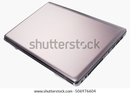 Closed laptop (notebook) above isometric view isolated on the white background