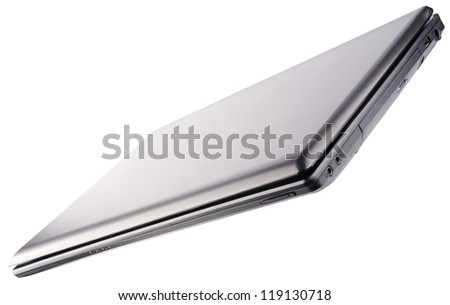 Closed laptop (notebook) isolated on the white background - stock photo