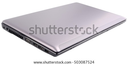 Closed laptop (notebook) isolated on the white background