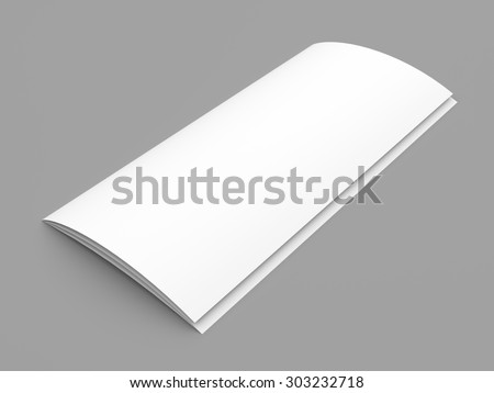 Closed leaflet blank tri-fold white paper brochure mockup on grey background - stock photo