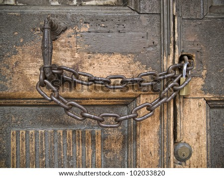 Closed Lock With A Chain On An Old Wooden Door Amp Closed