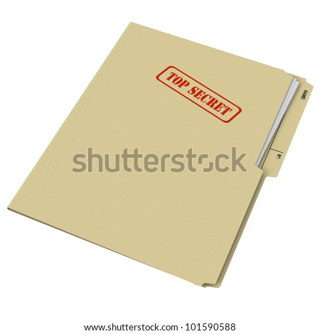Closed manila folder rubber stamped with Top Secret on white background