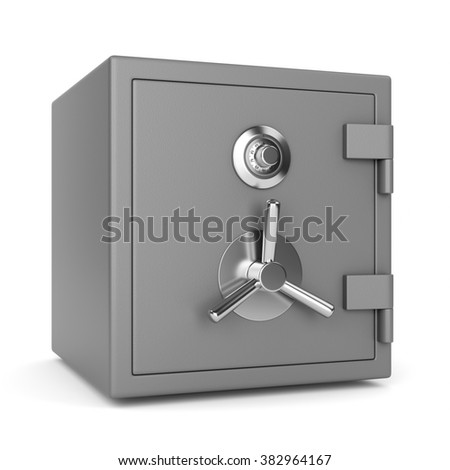Closed metal bank security safe with dial code lock isolated on white background