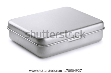 Closed metal box isolated on white