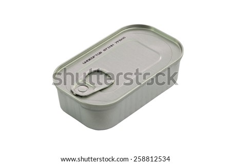 Closed metal can with conserved sprat fish. Isolated on white background with clipping path.