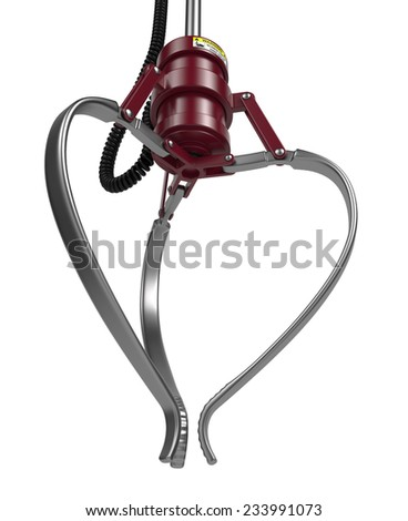 Closed Metal Robotic Claw in Maroon Color Isolated on White Background. Bottom Plan View.