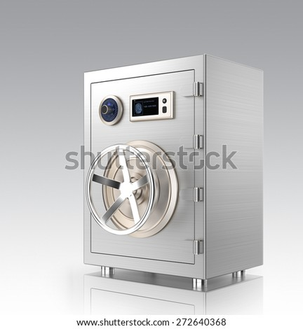 Closed metal safe with touch screen isolated on gray background. This smart metal safe  support authentication from smart phone by wireless connection. - stock photo