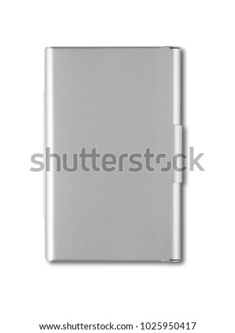 Closed metallic card holder isolated on white background