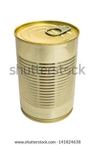 closed metallic tin isolated on white background