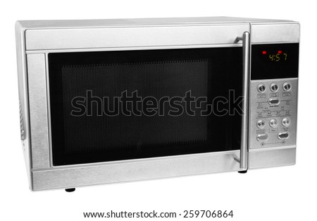 closed microwave made of shiny metal isolated on a white background - stock photo
