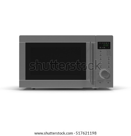 Closed microwave oven isolated on a white. 3D illustration