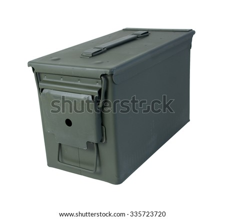 Closed Military Ammunition Case in drab olive that secures on one end - path included