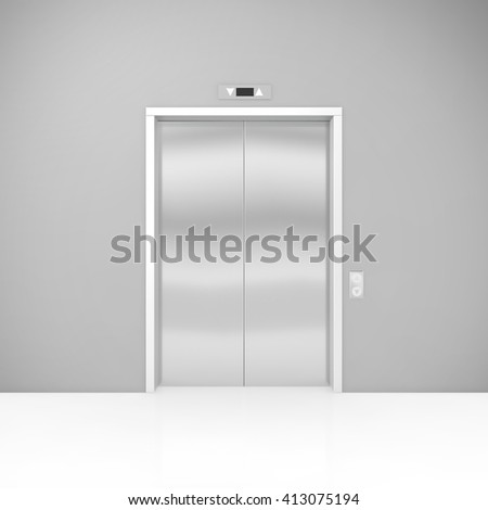 Closed modern elevator or lift. 3D illustration - stock photo