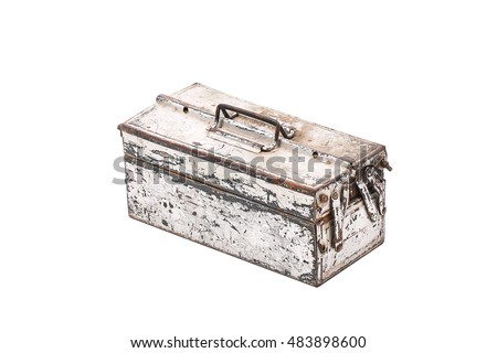 Closed old aluminium tool Box Isolated on a White Background.
