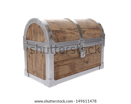 Closed old antique chest on white background - stock photo