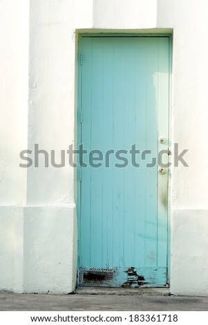 closed old wooden door on white wall