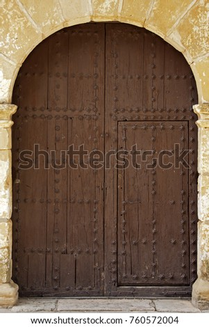 Closed Oval Wooden Doors With Iron Fittings On The Stone Wall & Oval Door Stock Images Royalty-Free Images u0026 Vectors | Shutterstock pezcame.com
