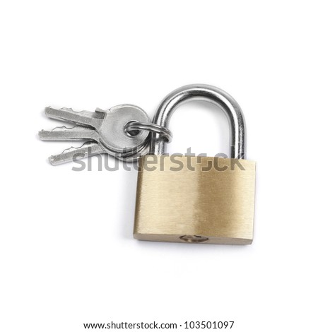 Closed padlock and keys isolated on white background