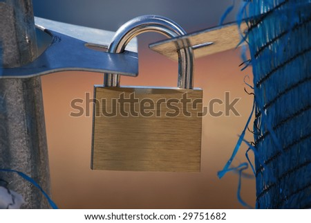 Closed padlock. Safety and security concept