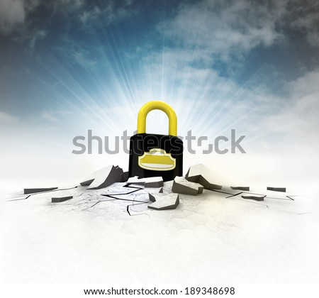 closed padlock stuck into ground with flare and sky illustration - stock photo
