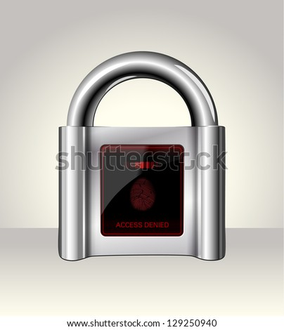 Closed padlock with touch Screen,data security concept - stock photo