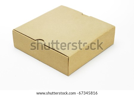 Closed paper box lying on white background - stock photo