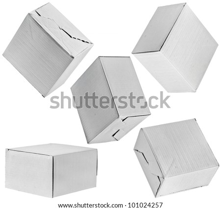 Closed paper boxes on white background