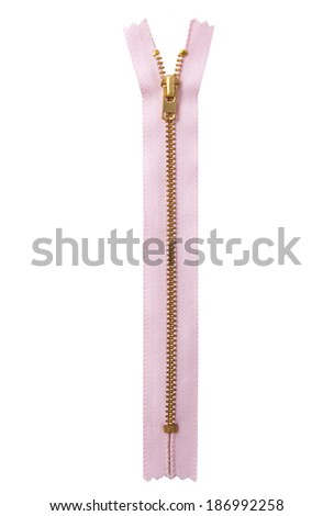 Closed pink zipper isolated over white - stock photo