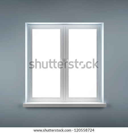 Closed plastic window on blue wall - stock photo