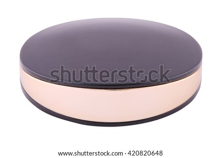 Closed powder box with a mirror on white. Clipping path inside.