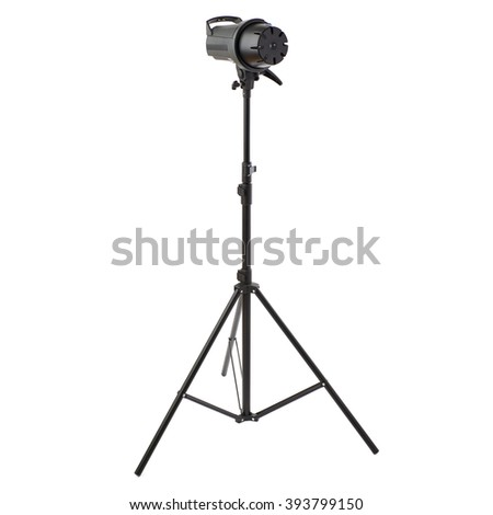 Closed Pulse studio flash on a stand over isolated white background