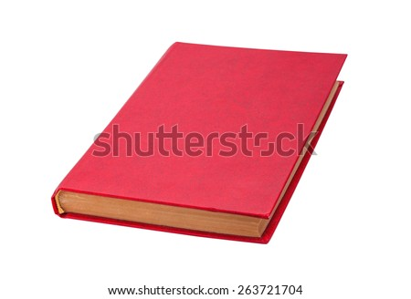 Closed red book isolated on a white background