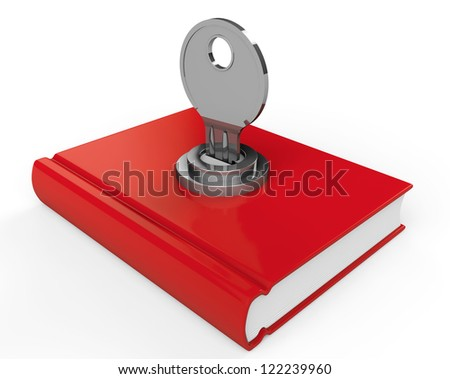 Closed Red Book with lock on a white background