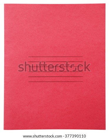 Closed red notebook isolated on white background with clipping path - stock photo