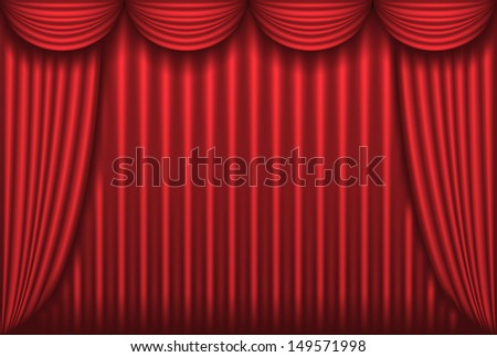 Closed red theater curtain. Raster version of vector